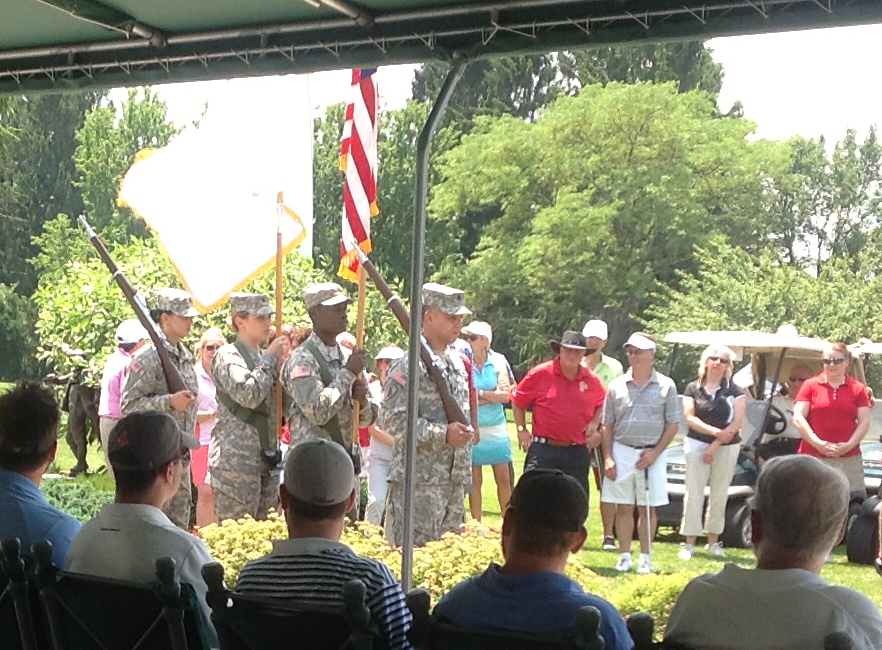 A moving military ceremony kicks off the Golf Tournament to benefit Wish for Our Heroes.